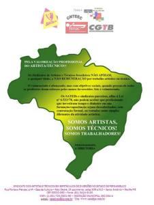 PELA VALORIZAÇÃO DE ARTISTAS / TÉCNICOS.